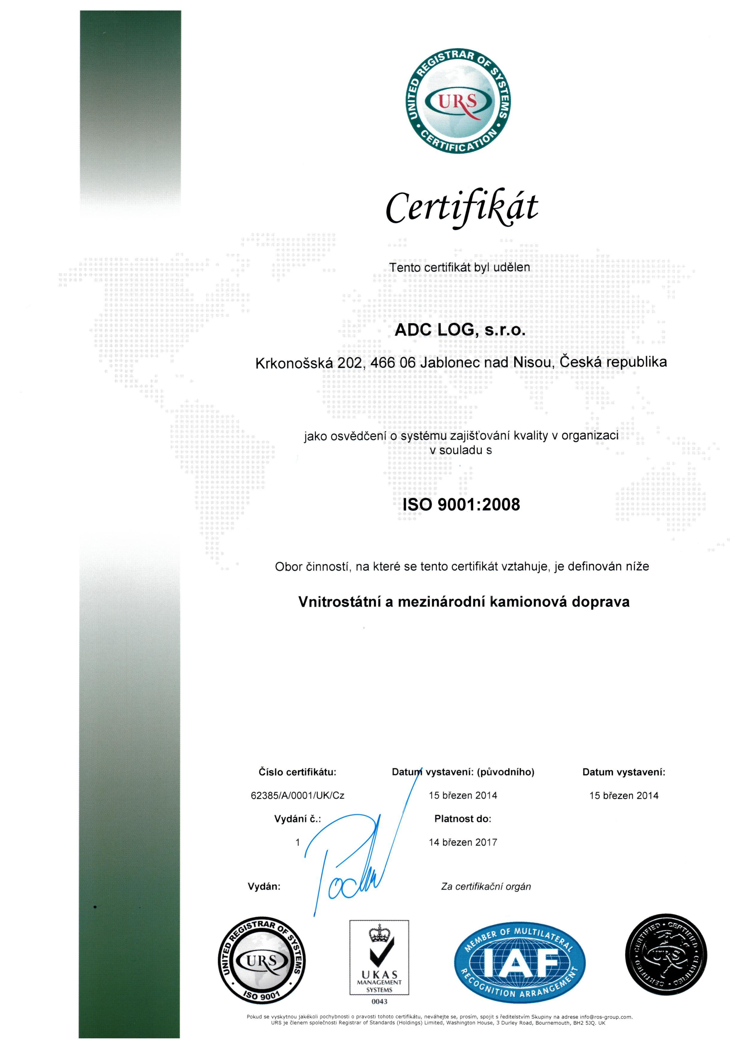 ADC certifikát CZ