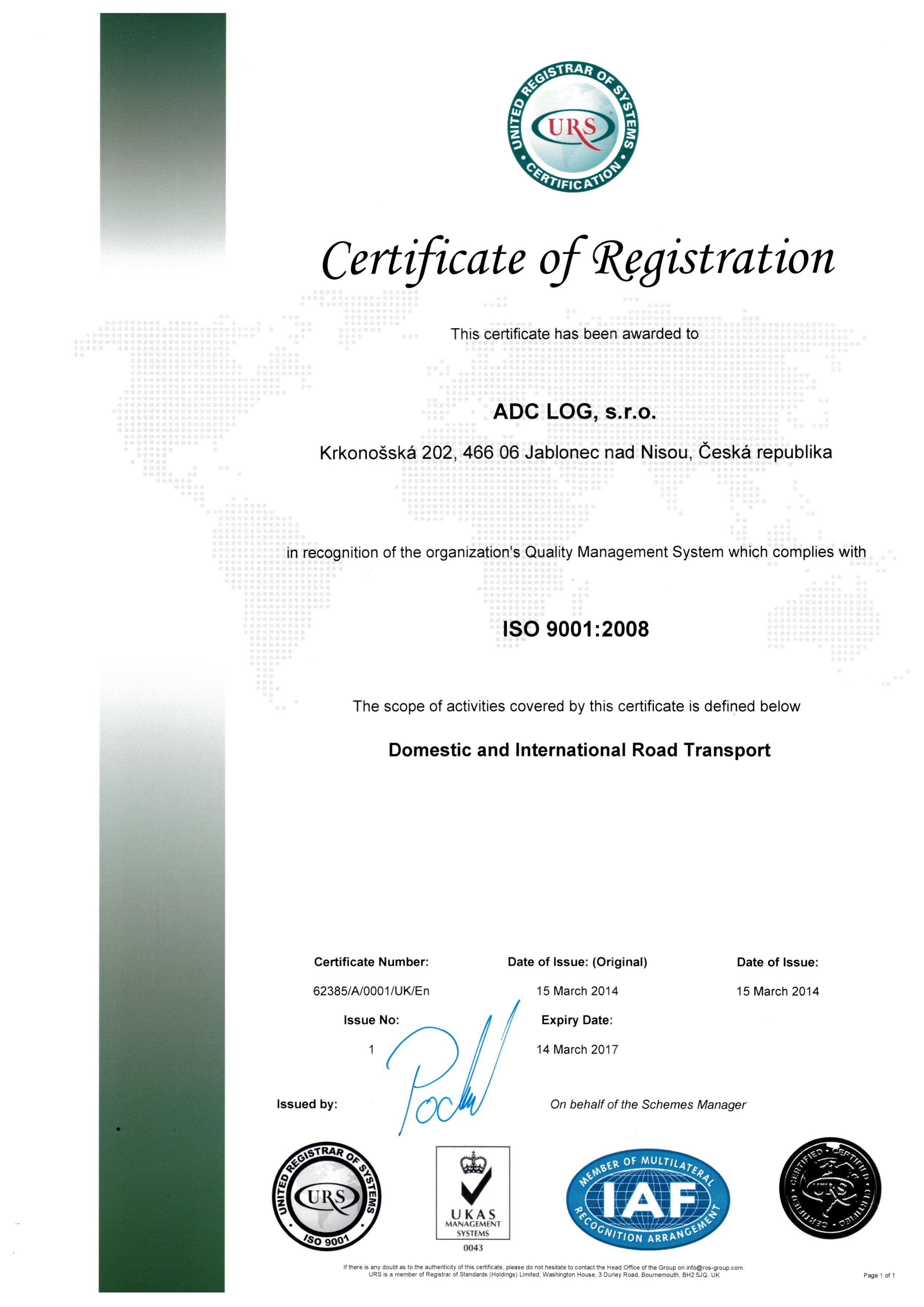 ADC certifikát ENG