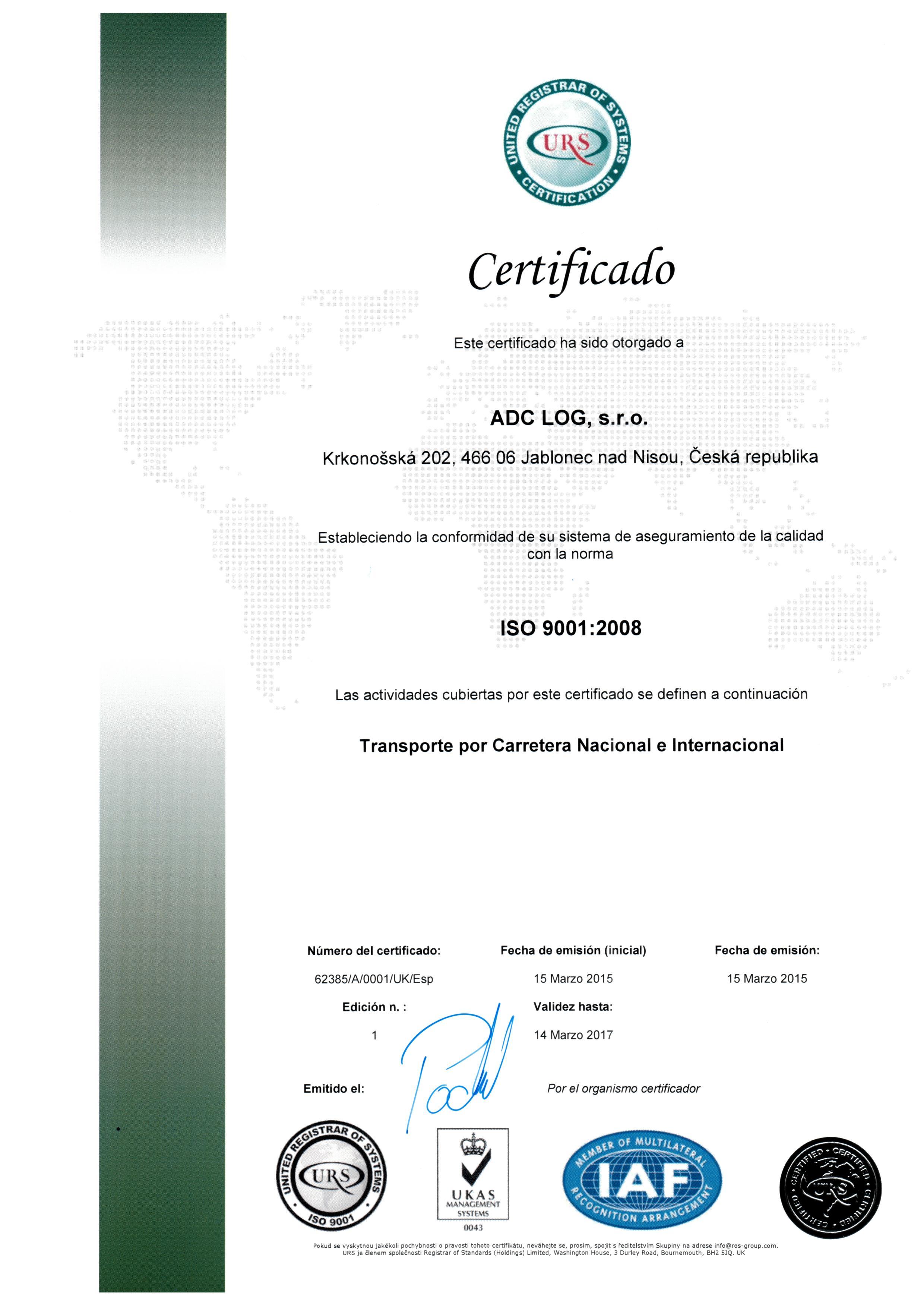 ADC certifikát ESP